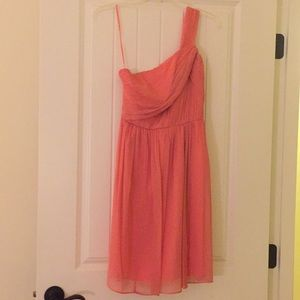 J. Crew silk chiffon coral bridesmaid dress